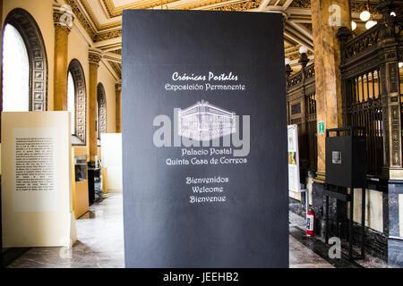 Mostra permanente, Palacio de Correos de Mexico o Palazzo postale di Città del Messico, Messico Foto Stock