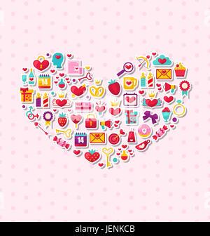 Illustrazione raccolta di moderno design piatto icone felice per il giorno di San Valentino, romantico simboli disposti in forma di cuore - Foto Stock
