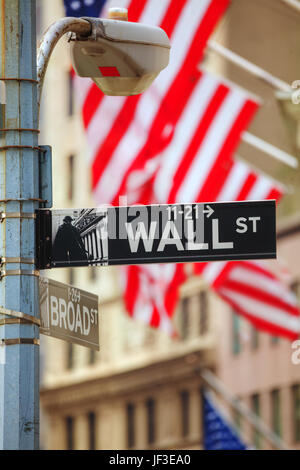 Wall street sign in New York City Foto Stock