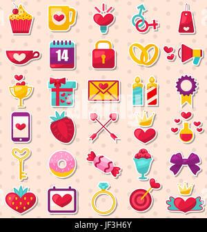 Illustrazione insieme di moderno design piatto le icone per il giorno di San Valentino e matrimonio - Foto Stock