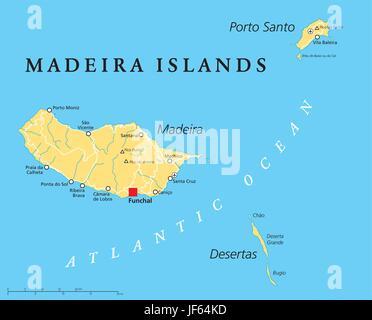 Isole di Madera, mappa, Atlas, mappa del mondo, viaggi, europa, Oceano Atlantico, Foto Stock