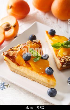 Cheesecake con albicocche, mirtilli, menta e mandorle close-up su una piastra su un piano verticale. Foto Stock