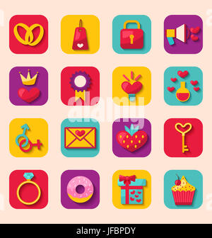 Illustrazione Creative Design piatto le icone per la felice San Valentino, Raccolta romantica vacanza oggetti - Foto Stock