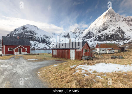 Flakstad, Isole Lofoten in Norvegia Foto Stock