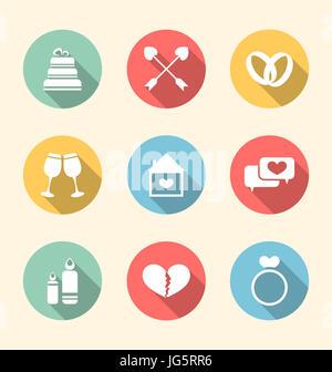 Illustrazione Moda icone piatto per il giorno di San Valentino, stile con lunghe ombre - Foto Stock