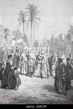 Miglioramento digitale: la Riconciliazione di Giacobbe e di Esaù, scena biblica, Esaù e Giacobbe conciliare, illustrazione Foto Stock