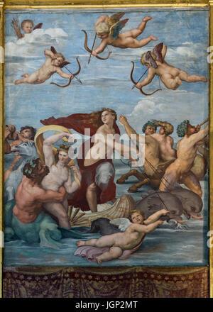 Il Trionfo di Galatea, Raffaello,affresco,Villa Farnesina, Roma, Italia Foto Stock