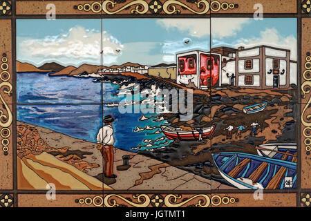 Piastrella immagine mostra un paesaggio della costa con barca da