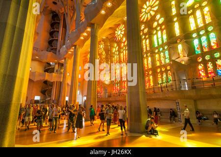 La chiesa della Sagrada Familia, basilica interno con finestre di vetro macchiate di Antoni Gaudi, UNESCO, Barcellona, in Catalogna, Spagna