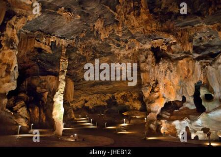 Stalattiti e stalagmiti in van Zyl's Hall all'interno delle grotte Cango, Oudtshoorn, Western Cape, Sud Africa Foto Stock