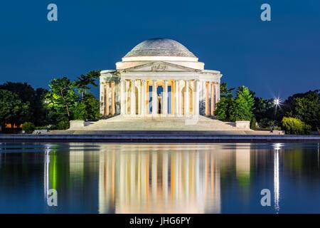 Jefferson Memorial a Washington DC. Il Jefferson Memorial è un edificio pubblico gestito dal servizio del parco Foto Stock