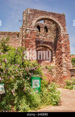 21 Giugno 2017: Exeter Devon, Inghilterra, Regno Unito - i resti del castello di Exeter, noto anche come Rougemont Foto Stock