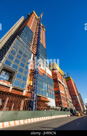L'Hudson Yards sito in costruzione (2017) da 11th Avenue. Midtown Manhattan, New York City Foto Stock
