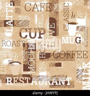 Il caffè a tema pattern senza giunture. Parole, tazze di caffè e scarabocchi creativi. Il beige e marrone gamut. Foto Stock