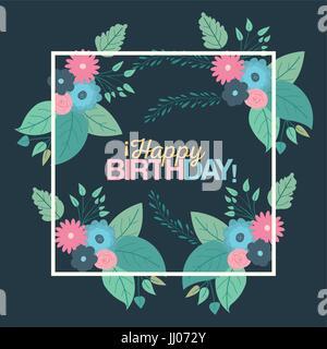 Colore sfondo verde con cornice quadrata con fiori decorativi e testo buon compleanno all'interno