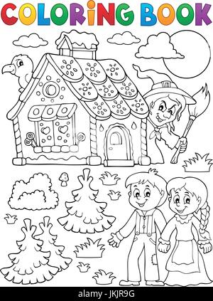 Libro Da Colorare Hansel E Gretel 1 Foto Immagine Stock 227156440