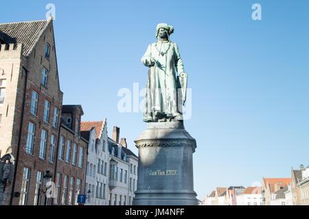 Jan Van Eyck Square a Bruges, Belgio Foto Stock