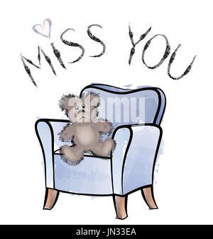 Miss you card con orso Foto Stock