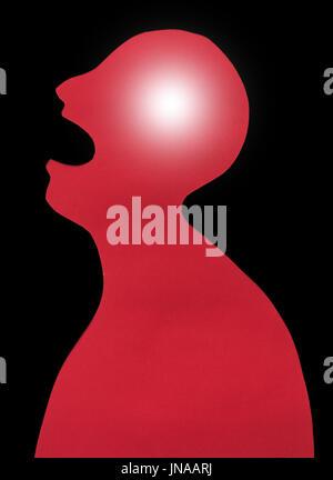 Concetto di essere umano diagnosi di malattia e dolore localizzazione su silhouette - contorno di astratta maschio Foto Stock