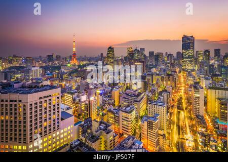 Tokyo, Giappone skyline al tramonto. Foto Stock