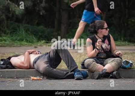 Kostrzyn su Odra, Polonia. Il 3 agosto, 2017. Oggi è il primo giorno di uno dei più grandi festival di musica in Foto Stock