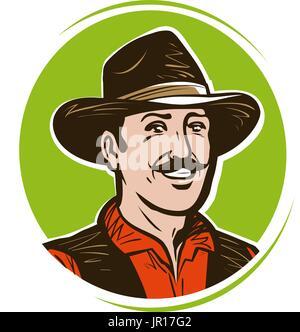 Agricoltore logo o etichetta. Ritratto di felice cowboy americano in hat.  Fumetto illustrazione vettoriale 9088064f4cc1