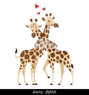 Vettore stile fumetto illustrazione di due giraffe. Isolato su sfondo bianco. Foto Stock