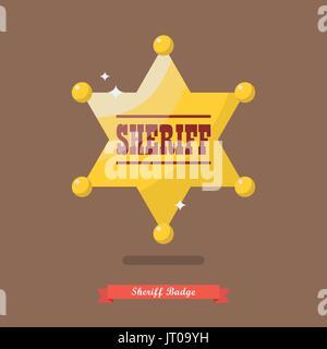 Illustrazione Vettoriale · Sheriff badge in stile piatto. illustrazione  vettoriale Foto Stock b5d21776c32f