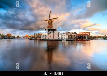Nuvole rosa al tramonto sul mulino a vento De Adriaan riflessa nel fiume Spaarne, Haarlem, Olanda Settentrionale, Foto Stock
