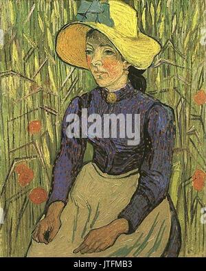 Giovane contadino di donna con cappello di paglia di Vincent Van Gogh Foto  Stock d2f3eea713b1