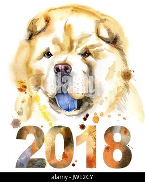 Ritratto ad acquerello di chow-chow dog Foto Stock