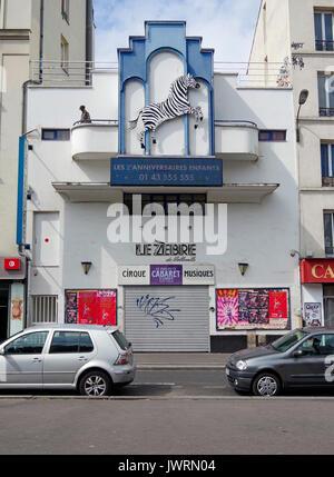 Le Zèbre de Belleville, la zebra di Belleville, ex cinema, ora sede del più piccolo cabaret in Europa, cabaret-circo, Foto Stock