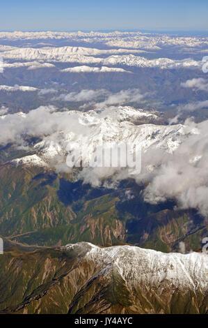 Kaikoura Montagne in primavera antenna Vista la mattina, North Canterbury Nuova Zelanda Foto Stock
