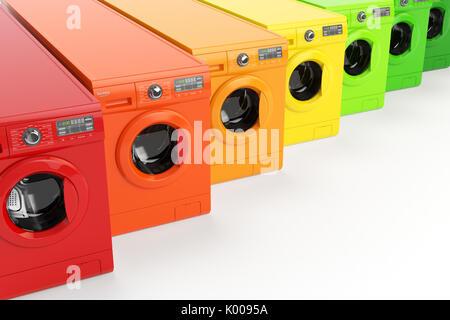 Le macchine di lavaggio certificato energetico in classi di efficienza energetica isolata su sfondo bianco. 3d illustrazione Foto Stock