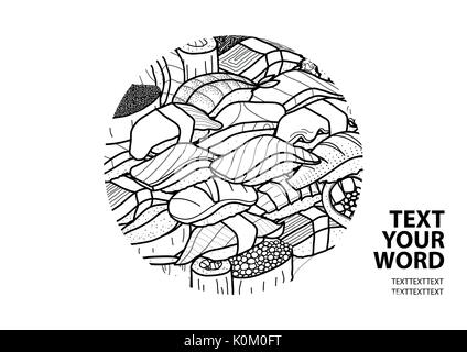 Il sushi e il rotolo nel contorno nero casuale nel cerchio al centro con il testo su sfondo bianco. Il coperchio, Foto Stock