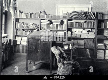 Johannes Brahms studio e la biblioteca di Vienna. Compositore tedesco ( 1833 - 1897 )