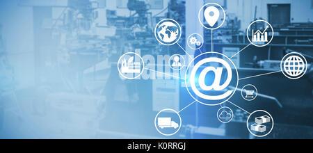 Immagine composita del simbolo in mezzo a varie icone contro l immagine di macchinari Foto Stock