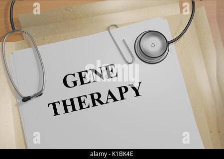 3D illustrazione della terapia genica titolo su documenti medici. Concetto Medicial. Foto Stock