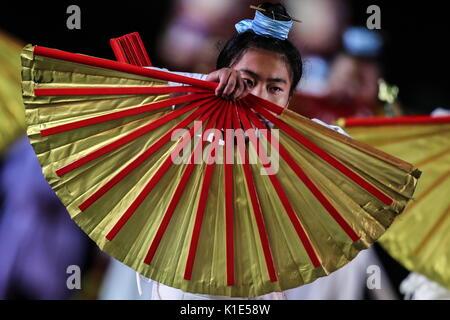 Mosca, Russia. 25 Ago, 2017. Taoista di monaci Wudangshan, Cina, alla prova generale della cerimonia di apertura Foto Stock