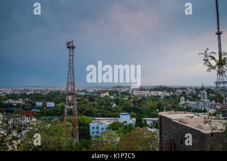 Vista di Hyderabad dal GP Birla Centre Foto Stock