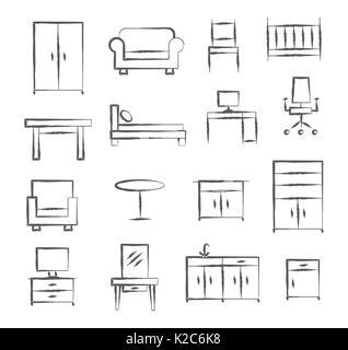 Mobilio doodle icone Foto Stock