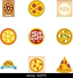 Pizza set di icone di stile di Piana Foto Stock