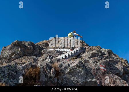 L'Italia, Trentino Alto Adige, Val di Non, donna escursionista sale fino alla vetta del Monte Luco sulle ripide Foto Stock
