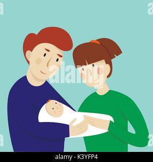 Illustrazione della giovane con il bambino. Concetto di maternità, di amore e di cura.