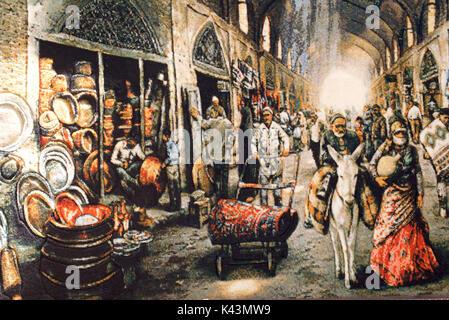 Tappeto tessuto raffigurante una scena di mercato. vakil bazaar, Shiraz, Iran Foto Stock