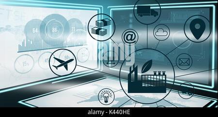 Immagine composita dell'industria nel mezzo di varie icone contro l'immagine grafica della crescita aziendale grafici Foto Stock