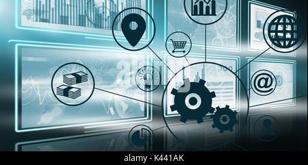 Immagine composita di ingranaggi tra varie icone contro immagine vettoriale della crescita aziendale grafici in Foto Stock