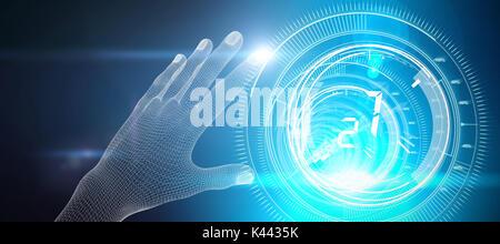 3d illustrazione della mano contro la manopola di interfaccia con i numeri in sfondo blu scuro con la luce blu radianza Foto Stock