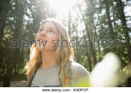 Curioso ragazza adolescente escursionismo, guardando il tress in boschi Foto Stock