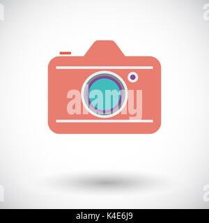 Fotocamera. Piatto icona vettore per i dispositivi mobili e le applicazioni web. Illustrazione Vettoriale. Foto Stock